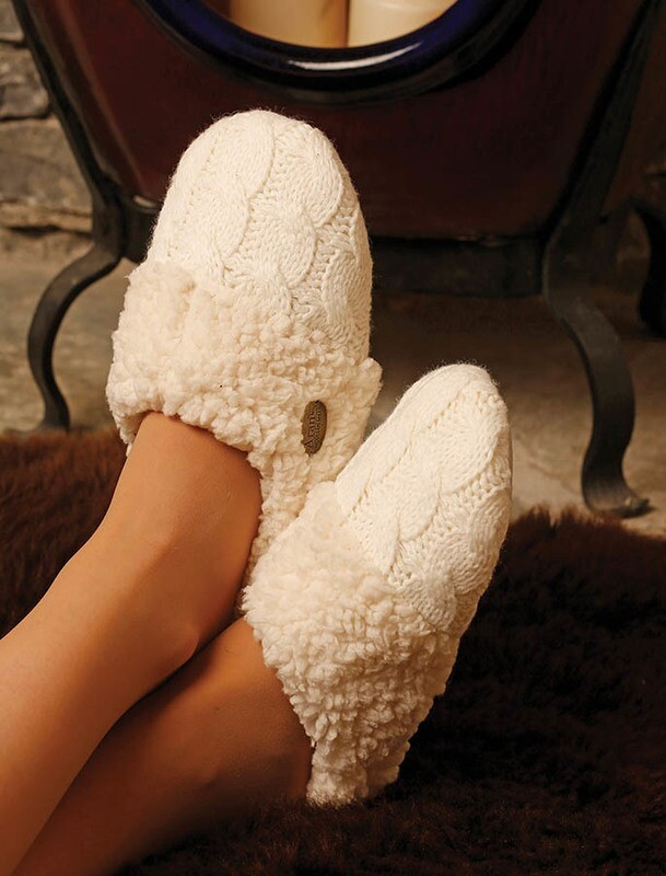 Aran Cable Adult Slippers