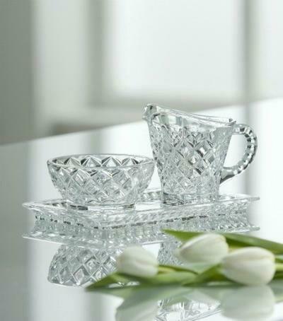 Galway Crystal Cream & Sugar Tray Set
