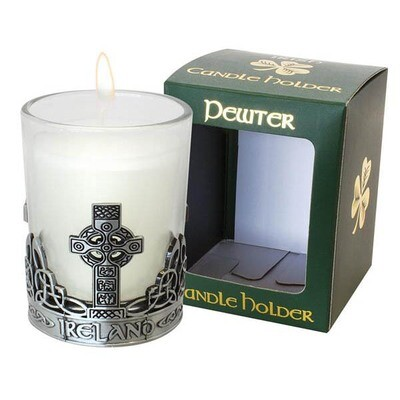 Pewter Celtic Cross Candle Holder
