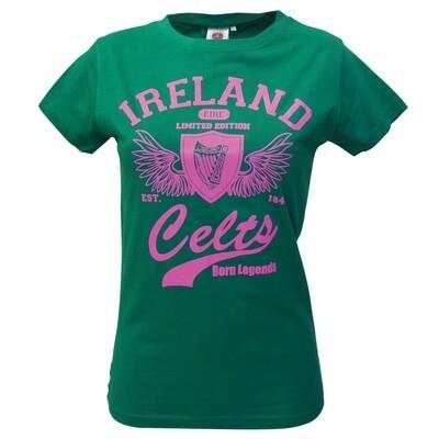 Green & Pink Celts Ladies T