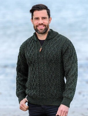 Aran Zip Neck Sweater