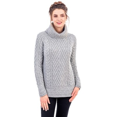 Turtleneck Ribbed Cable Sweater