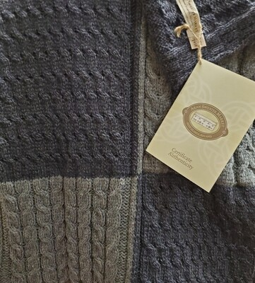 Aran Throw-Patchwork Grey