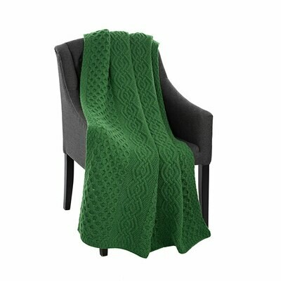 Green Honeycomb & Cable Throw