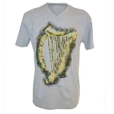 Grey Harp V-Neck T-Shirt