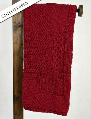Aran Throw-Patchwork Chili Pepper