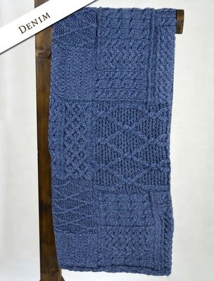 Aran Throw-Patchwork Denim