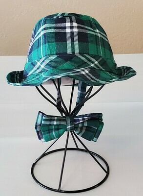Green Plaid Hat & Tie