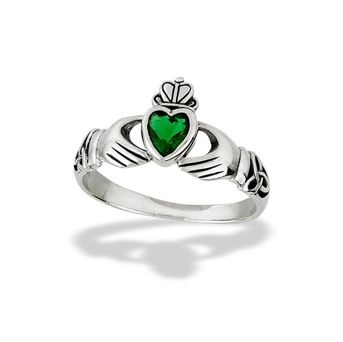 SS Green Claddagh Ring