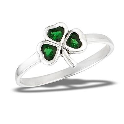 SS Green Shamrock Ring