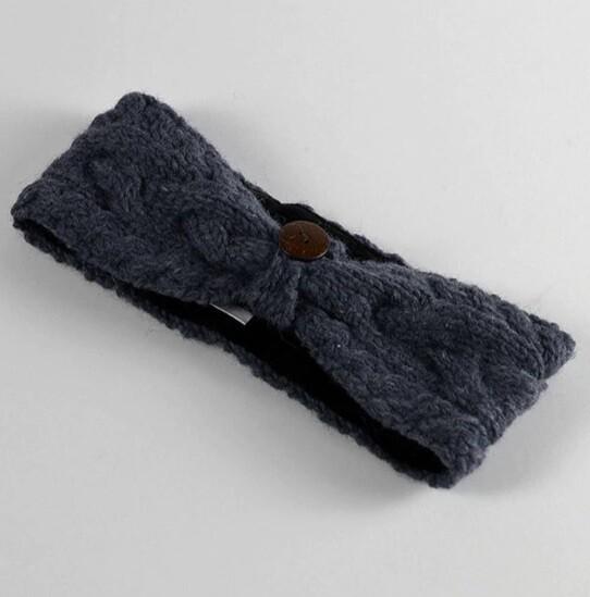 Aran Headband With Button