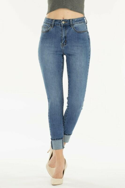 Nature Plain Cuff Crop Jeans