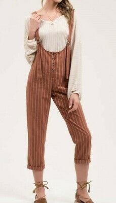 Crop Leg Stripe Jumpsuit