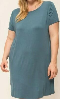 Dusky Blue Bamboo Knit Dress