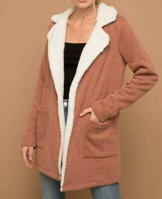 Faux Fur Lined Cardigan