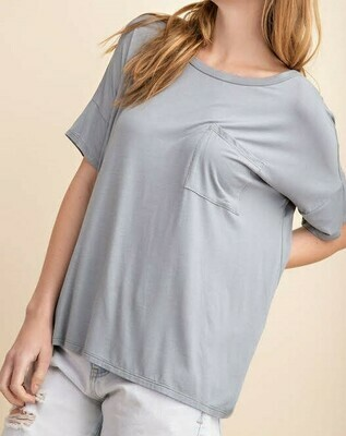 Front Pocket Bamboo Basic Knit Top