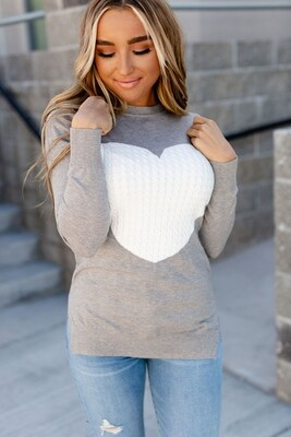 Cable Knit Heart Sweater