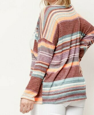 Muliti Striped Neon Knit Top
