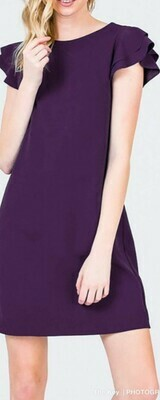 Plum Ruffle Sleeve Dress