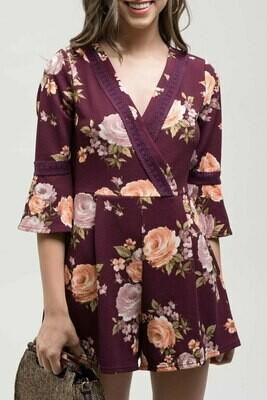 Purple Floral Romper