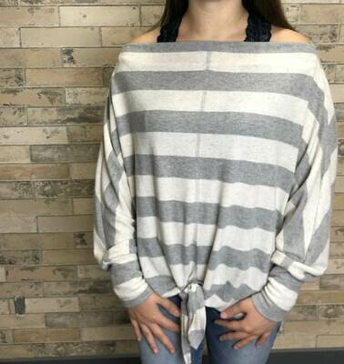 Grey Striped, Boat Neckline Long Sleeve Top