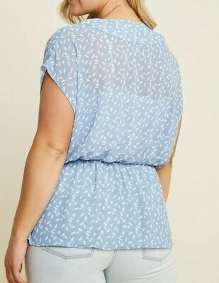 Light Blue Printed Top
