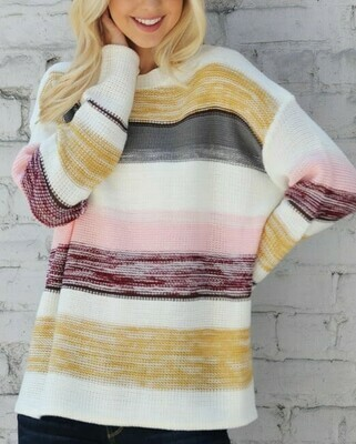 Multi Colored Stripe Knit Sweater