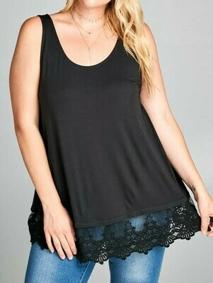 Plus Tank With Lace Bottom Detail