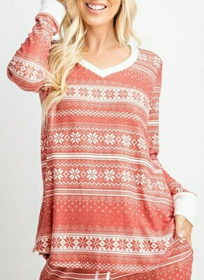 Red Snowflake PJ Top