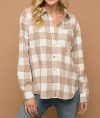 Taupe Plaid Top