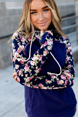 Navy Floral Double Hooded Sweater