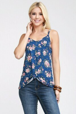 Navy Floral Twist Front Top