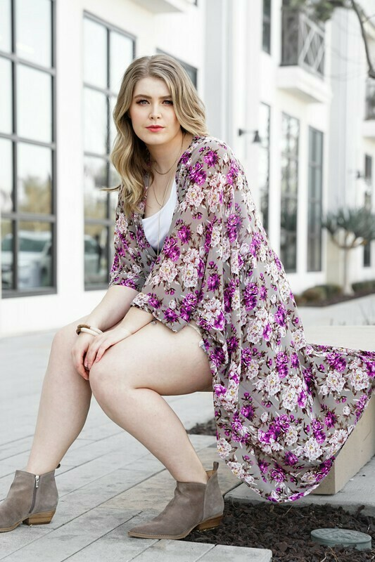 Floral Taupe Cardigan