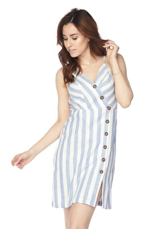 Blue and White Striped Linen Dress