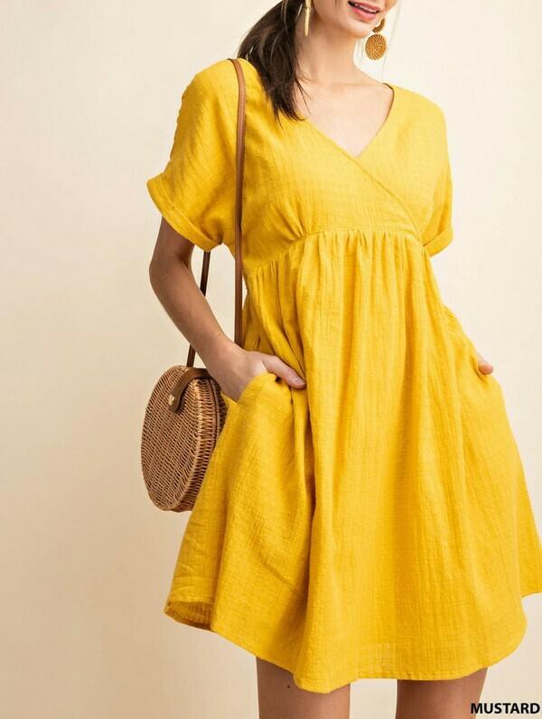 Waffle Print Mustard Dress