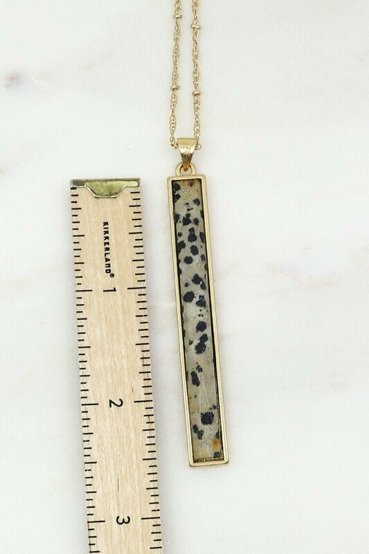 Long Dalmatian Stone Necklace