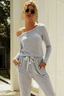 Grey Off Shoulder Jumpsuit