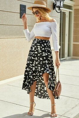 High Low Black and White Skirt