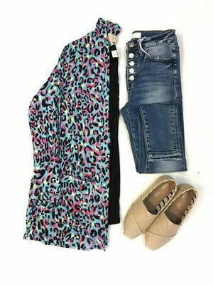Multi Colored Leopard Print Cardigan