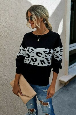 Black Sweater With Leopard Stripe Accent