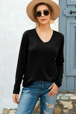 Long Sleeve Layering Top With Pocket