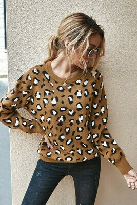 Leopard Pullover Sweater With Key Hole Back