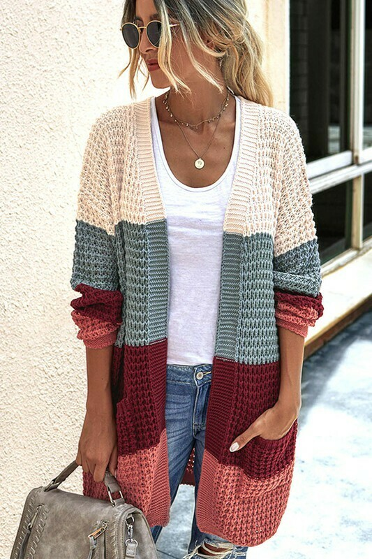 Knitted Color Block Cardigan