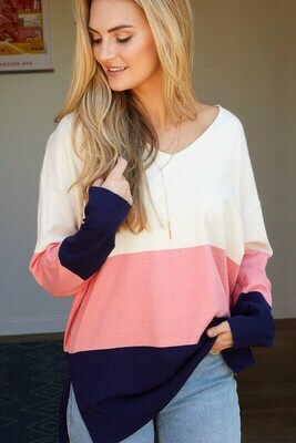 Navy and Pink Color Block Sweater
