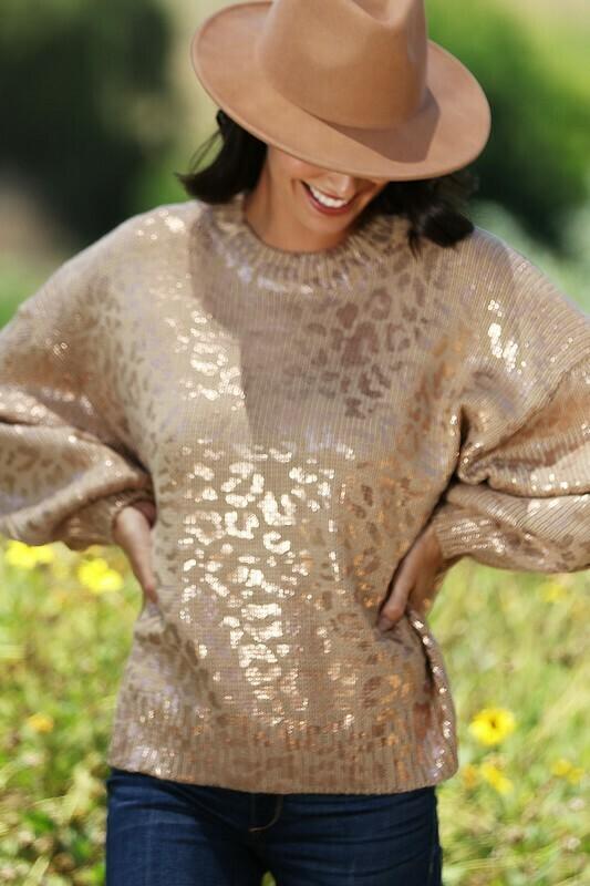 Metallic Leopard Print Sweater