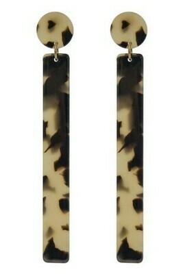 Long Rectangle Leopard Earrings