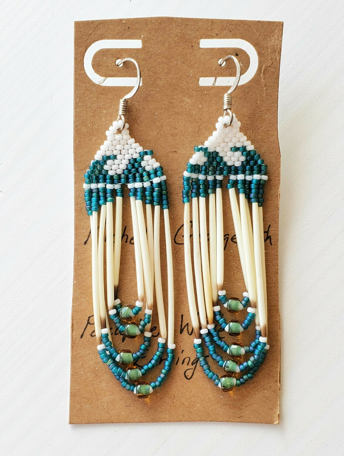 Beaded Porcupine Earrings Large