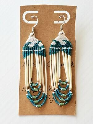 Beaded Porcupine Earrings Large