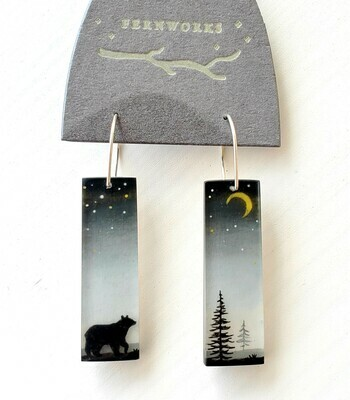 The Bear and the Golden Moon Earrings