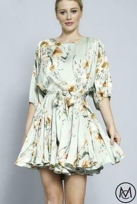 Tie Waist Floral Mini Dress